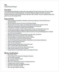 Restaurant Manager Resume Sample Endearing Assistant 1 Hotel And