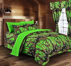 Hunting Camo Bathroom Decor by Amazon Com The Woods Lime Green Camouflage 5pc Curtain Set By