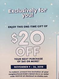 Kiehl's: $20 Off $65 With Code FESTIVE. November 9th - 26th ...