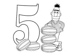 Learn Number 5 With Sesame Street Coloring Page