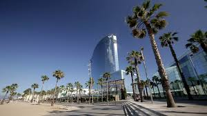100 W Hotel In Barcelona Spain April 12017 View Of Palm Trees Barceloneta