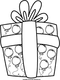 Birthday present clipart black and white
