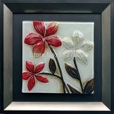 Handpainted Glass Oil Painting On Wood Flower Wall Art For Home