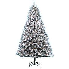 DONNER BLITZEN 75 Pre Lit Snow Country Flocked Pine Tree With 600 Clear