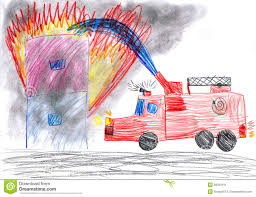 Fire Truck Rescues House. Child Drawing Stock Image - Image Of Save ...