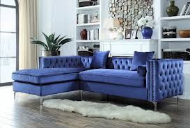 Tufted Velvet Sofa Bed by Amazon Com Iconic Home Da Vinci Tufted Silver Trim Navy Blue