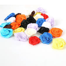100PCS Artificial Mini Silk Rosettes Fabric Flowers Heads Making Handmade Satin Ribbon Roses DIY Craft For