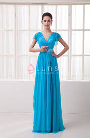 sky blue chiffon flutter sleeve v neck elegant long evening dress