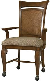 Windward Dining Arm Chair With Caster Wheel Base Woven Cheap Wooden ...