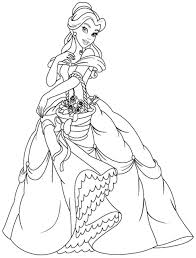Princess Belle Coloring Pages Beautiful Dress