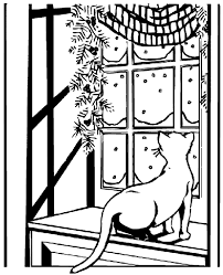 Cat Watching Snow Coloring Page