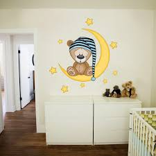 stickers chambre d enfant design interieur stickers muraux ourson demi lune étoiles table
