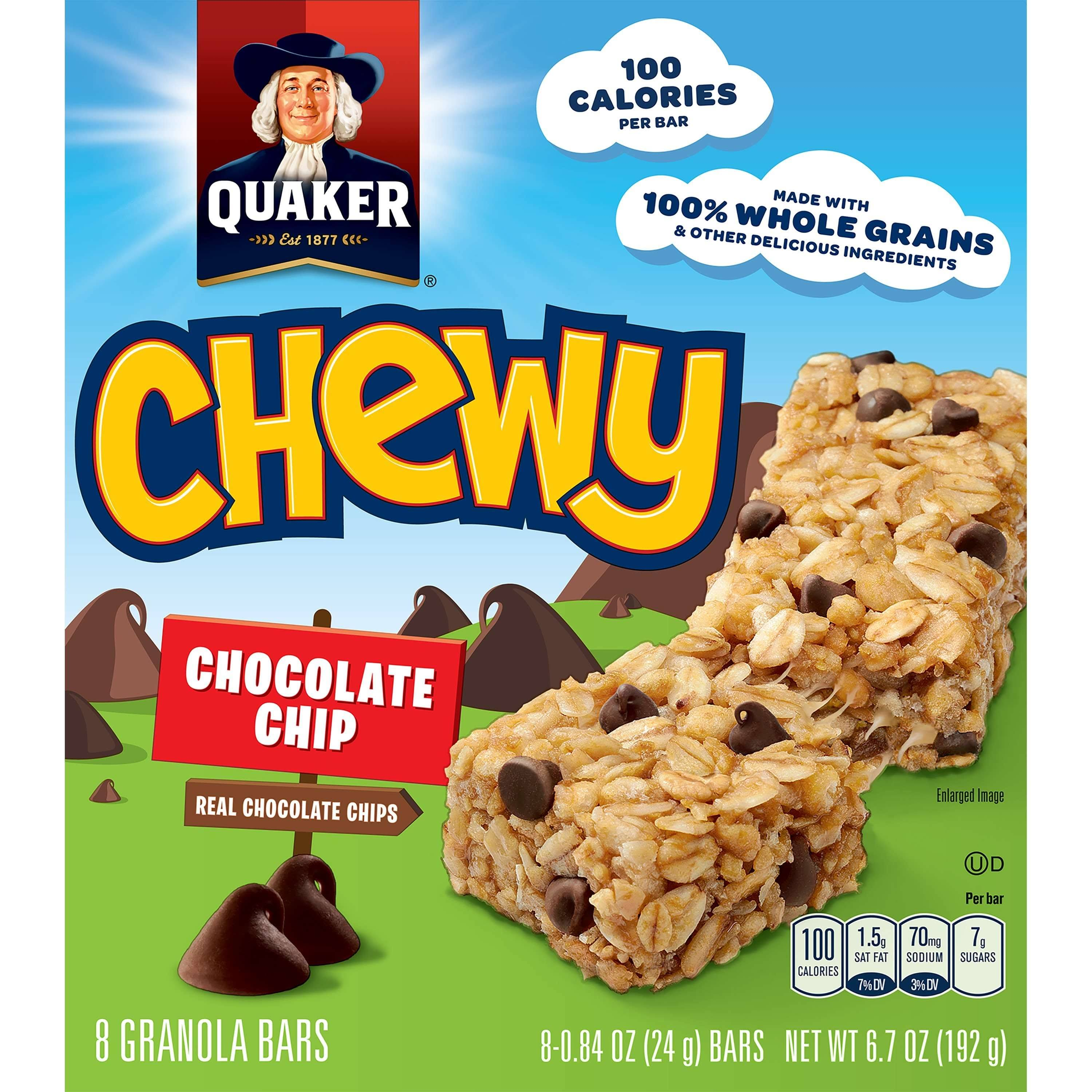 Quaker Chewy Granola Bar - 8 Granola Bars, Chocolate Chip, 192g