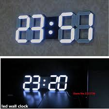 Large Modern Design Digital Led Wall Clock Big Creative Vintage Watch Home Decoration Decor Alarm Temperature 3d White Gift Clocks Contemporary