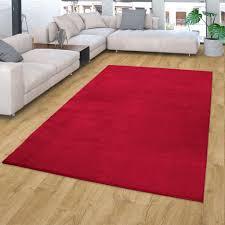 teppich weicher kurzflor teppich für wohnzimmer soft waschbar in rot größe 120x170 cm