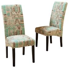 India Geometric Fabric Dining Chairs Teal Set Of 2