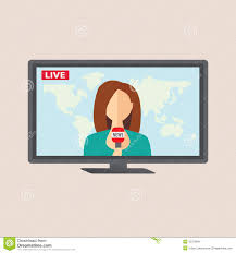 Download Television Anchorwoman At Studio During Live Broadcasting Stock Vector
