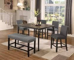 Biony Counter Height 6 Piece Espresso Wood Dining Set With Grey Fabric Nailhead Chairs And