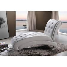 100 Bedroom Chaise Lounge Chair Baxton Studio Pease Glam White Faux Leather Upholstered 28862