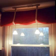 DIY Red Burlap Kitchen Curtain