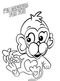 Monkey Bananas For You Valentine Coloring Page
