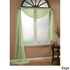 Brylane Home Lighted Curtains by Scenario Sheer Voile Scarf Valance And Rod Pocket Panels