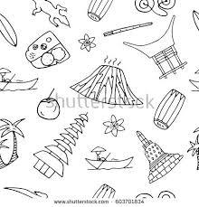 Hand Drawn Seamless Pattern With Symbols Of Indonesia Including Bromo Volcano Komodo Borobudur
