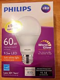 4 philips led 9 5 60 watt soft white a19 dimmable 800 lumens