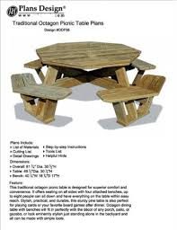 traditional octagon picnic table set woodworking out door