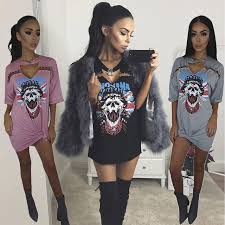 Women Sexy V Neck Punk Long T Shirt Tops 2017 New Style Skeleton Pin Street