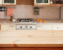 Kitchen Interior Empty Wooden Table Closeup Horizontally