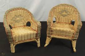 Vintage Brown Wicker Doll Chair & Rocker Set Fits 22 ...