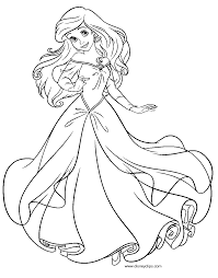 Ariel Princess Coloring Pages Disney In A Dress Home To Print