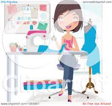 Clipart Of A Happy Brunette Caucasian Female Fashion Designer Sewing Dress