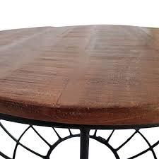 casamia couchtisch wohnzimmer tisch rund beistelltisch ø 55 cm metall drahtgestell gitter massiv color braun