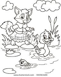 Coloring Page Outline Of Cartoon Fox Fish And Duck On The River Vector Illustration