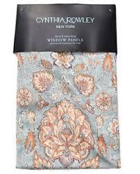 cynthia rowley jacobean floral window curtain panels linen pair