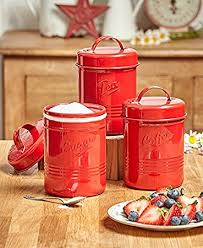 Amazon Vintage Set of 3 Red Metal Kitchen Canisters Made