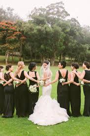 Long mismatched black bridesmaid dresses