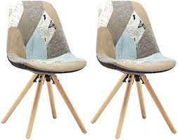 woltu bh52pw 2 2 x esszimmerstühle 2er set esszimmerstuhl mit sitzfläche aus leinen design stuhl küchenstuhl holz patchwork