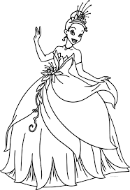 Disney The Princess And Frog Beautiful Dress Tiana Barbie Style Coloring Page