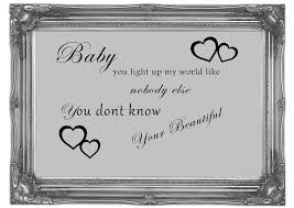 baby you light up my world 1d grey text quotes mural printed