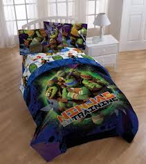 modern ninja turtle twin bed set beside french window designed for