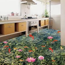 pvc selbst klebstoff wasserdicht 3d boden fliesen tapete küche bad goldfisch wasser welle boden wandmalereien aufkleber papel de parede