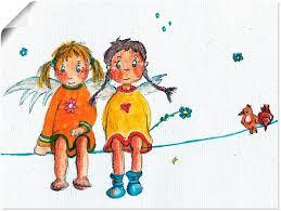 artland wandbild zwei engelchen sitzen auf wäscheleine kinder 1 stück in vielen größen produktarten leinwandbild poster wandaufkleber