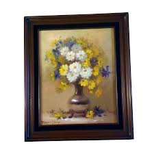 Marjorie Sharpe Oil Painting On Canvas Listed San Francisco Artist Yellow And White Daisies