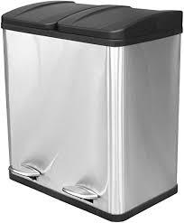 hac24 edelstahl doppel mülleimer 40l küche duo abfalleimer trennsystem treteimer mülltrenner mülltonne abfallsammler abfallbehälter