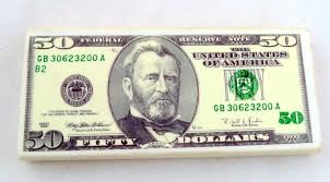 Fifty Dollar Bill Rubber Eraser President Ulysses S Grant GodBlessAmerica Treasury