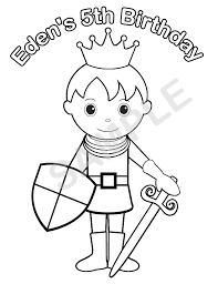 Personalized Printable Princess Prince Knight Birthday Party Favor Childrens Kids Coloring Page Activity PDF Or JPEG File