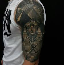 Egyptian Half Sleeve With Tutankhamuns Death Mask And Pyramids By Pralea Dani An Artist Based In Bucharest Romania